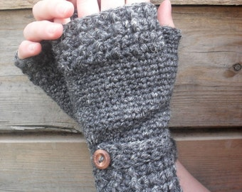 Hemp Wool Fingerless Mitts in in Heathered Pantheon Grey Eco Chic Autumn Fall Winter Fashion Made To Order