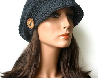Hemp Hat Woodland Slouchy Newsboy Cap in Marble Blue Eco Friendly Made to Order