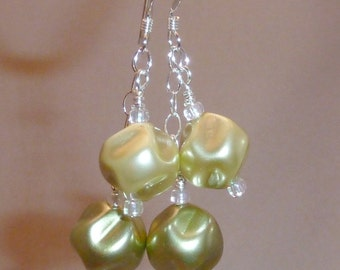Earrings of dual Czech pearlized nuggets in olive green