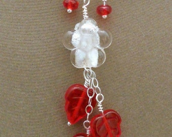 Pendant necklace earrings of red leaves, white foil flowers, SS chain