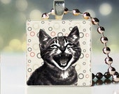 Laughing at you cat illustration scrabble tile pendant - Cat Pendant - Cat Necklace - Cat Jewelry - Cat Charm