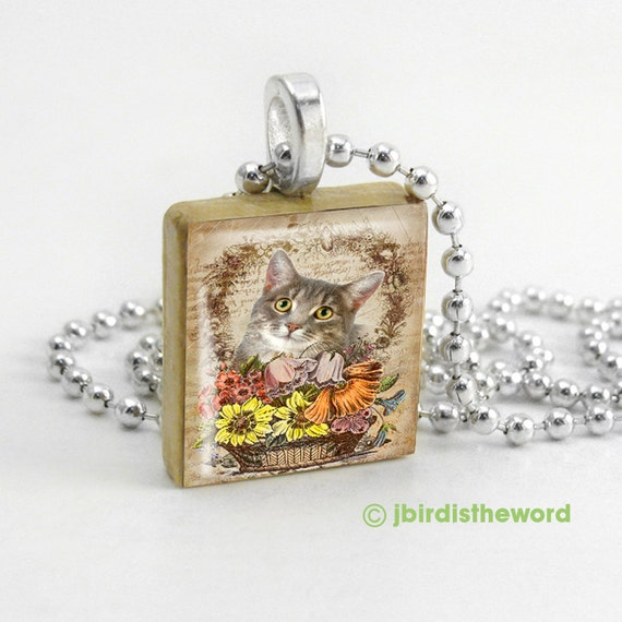 Kitteh Basket of Goodies scrabble tile pendant - Cat Pendant - Cat Necklace - Cat Jewelry - Cat Charm - Gift for Cat Owner