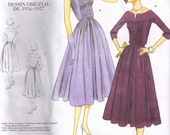 Misses Fitted Pleated Bodice Dress Reprint Retro 1950s Vintage Styled Vogue 1044 Sewing Pattern Size 12, 14, 16 Bust 34 36 38