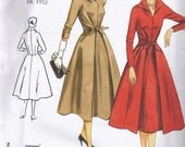 1950s Vintage Styled Wrap Dress Pointed Winged Collar Vogue 2401 Sewing Pattern Plus Size 18, 20, 22 Bust 40 42 44 Uncut Factory Folded