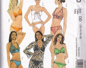 Bikini Bathing Suit  and Coverup Sewing Pattern McCalls 5400 Plus Size 12, 14, 16, 18 Bust 34 36 38 40