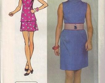 Skirt Top 2 piece Mini dress High Neckline Size 16 Bust 38 Simplicity 9916 Vintage 1970s Sewing Pattern Misses Womans