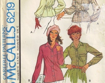 Front Button up Shirt with Pointed Collar McCalls 6219 Sewing Pattern Top Vintage 1970s  Misses plus size 18 bust 40