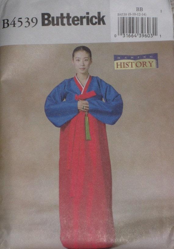 Traditional Korean Wedding Hanbok Dress Sewing Pattern Butterick 4539 Size 8 10 12 14 Bust 31.5 32.5 34 36