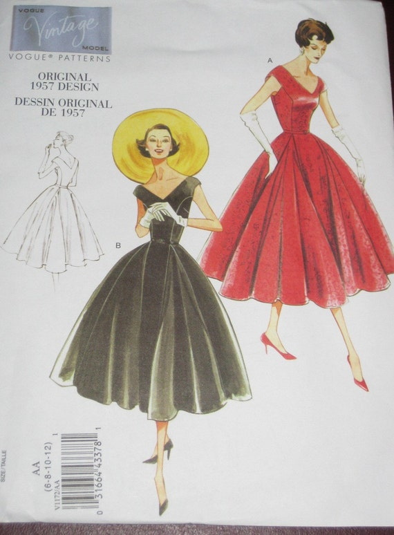 Vogue 1172 Reprint 1950s Vintage Styled V Neck Close Fitting Princess Seam Dress Sewing Pattern  Size 6 8 10 12