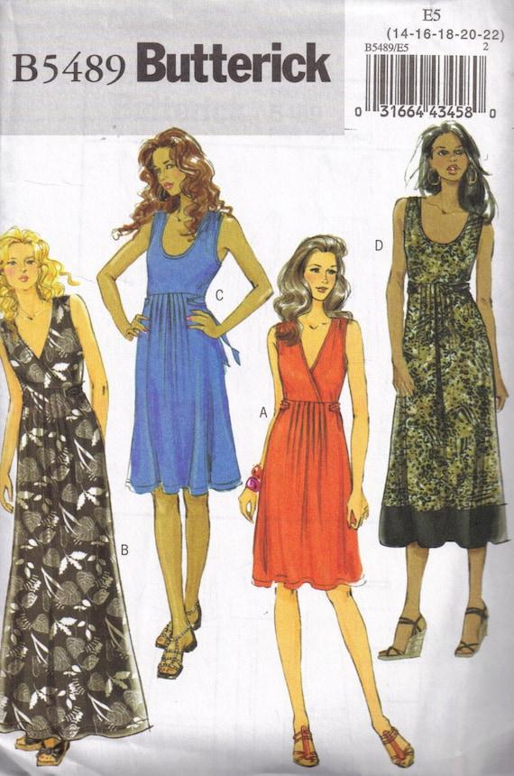 Sundress Maxi Dress Sewing Pattern Butterick 5489 Plus Size