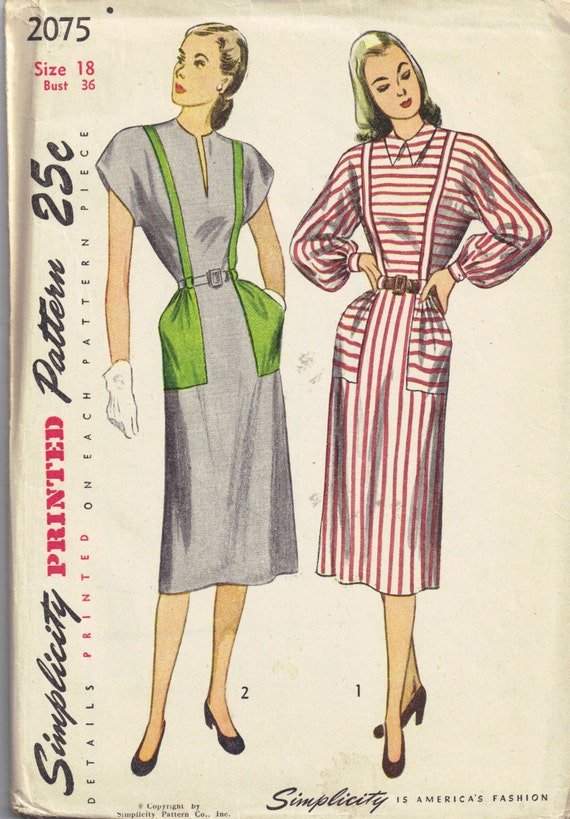 Vintage 1940s Simplicity 2075 Sewing Pattern V Neck Dress Bishop Sleeve Plus Size 18 Bust 36