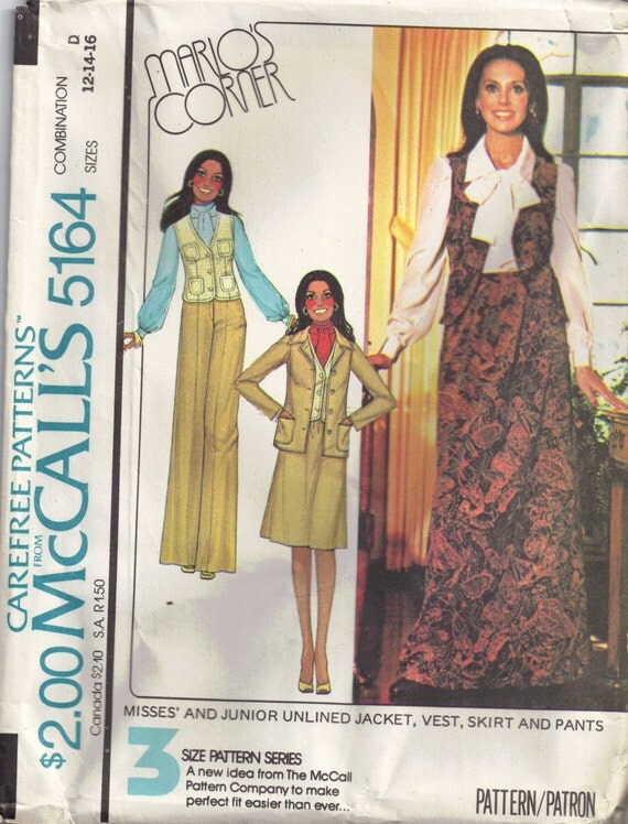 McCalls 5164 Vintage 1970s  Marlo Thomas Vest, Maxi Skirt, Pants Sewing pattern Size 12, 14, 16