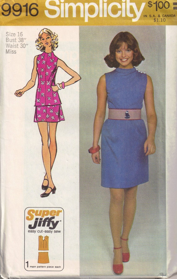 Skirt Top 2 piece Mini dress High Neckline Size 16 Bust 38 Simplicity 9916 Vintage 1970s Sewing Pattern Misses Womans