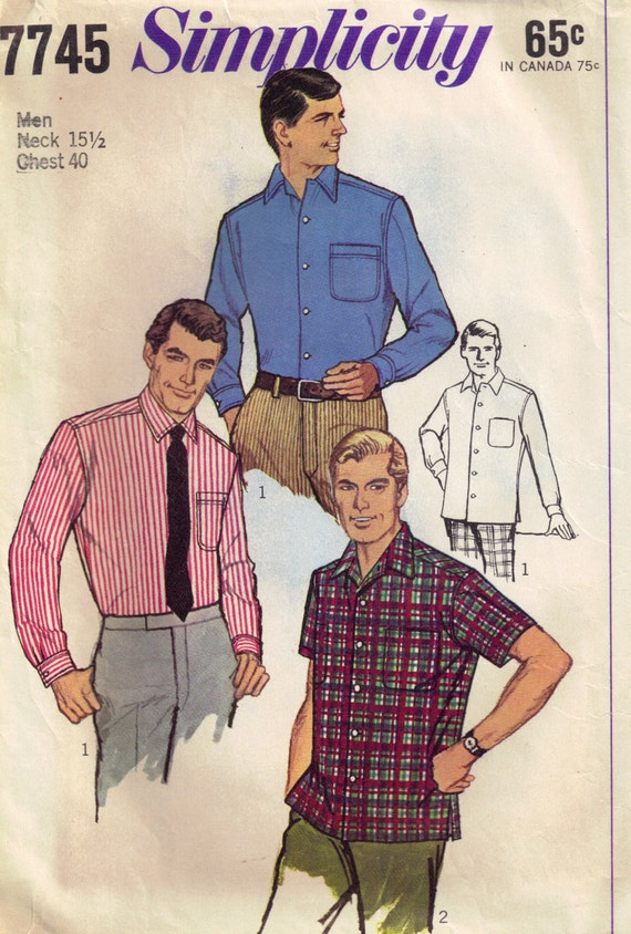 Vintage 1970s Simplicity 7745  Mens Tapered Dress Shirt  Neck Size 15.5 Chest 40
