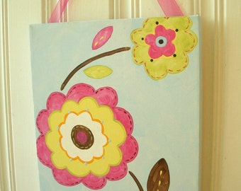 "baby nursery wall art..girl kids room decor..original canvas painting..hand painted artwork..11 x 14 flowers blue nottingham ""pretty posies"""
