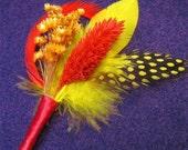 Red boutonniere modern Chinese wedding chinese boutonniere yellow boutonniere feather boutonniere grooms groomsmen flower lapel pin men