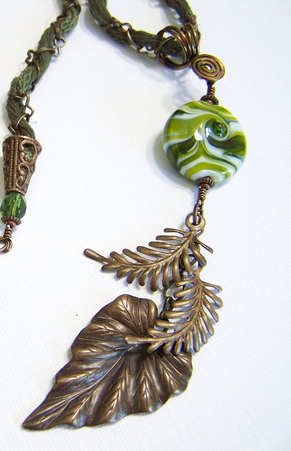 Handmade Jewelry Beaded Necklace Earrings Set Lampwork Ribbon Antique Brass Olive Green Leaves Long Lightweight Bead Trends...Shady Lane