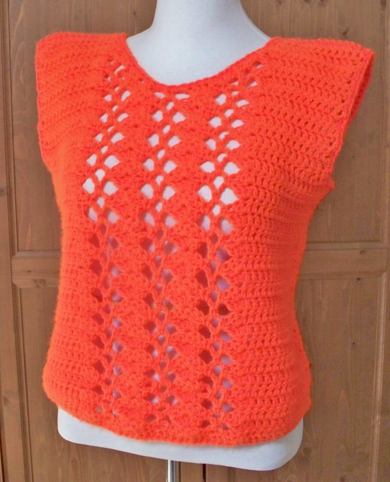 Women Orange Vest, Crochet Orange Top, Vest Size Medium