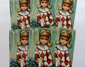 Big Eyed Girl Vintage Playing Cards collage ephemera (PC0026) six card lot
