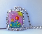 Hand Painted Necklace - Wildflowers Love Sunshiny Days - Original Artist Acrylics Handpainted Art Charm on a Ball Chain Necklace