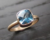London Blue Topaz Ring in Recycled 14k Gold Cushion Cut Gemstone