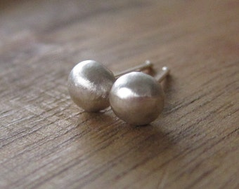 Recycled Sterling Silver Post Earrings - Silver Ball Studs - Sterling Silver Pebble Studs - Brushed Finish Stud Earrings - Organic Studs
