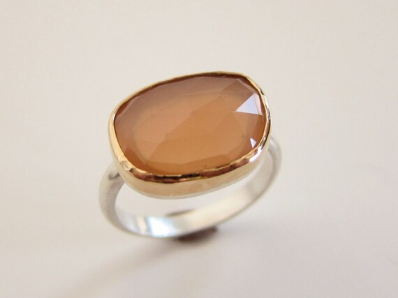 Size 6 Peach Moonstone Ring in Recycled 14k Gold and Sterling - Rose Cut Free Form Stone