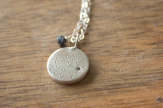 Diamond Necklace in Sterling Silver with Chocolate and Grey Diamonds - Silver Disc with Glimmer Texture