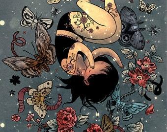 Moth Girl - 8x10 Print - flowers moths earthworms