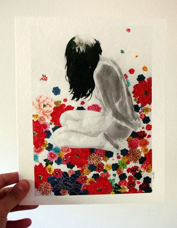 Garden 8x10 print - figurative drawing fabric mixed media collage - woman in flowers