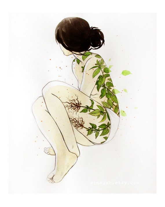 Art Print - 8x10 - Stinging Nettles - watercolor figure drawing color print on heavy paper