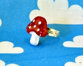 Glitter Toadstool Ring Adjustable - Red