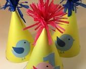 Baby Bird Party Hats Set of 6 Customizable QueenBeeInspirations