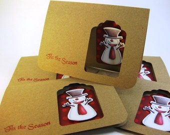 Holiday Thank You Greeting Card Set wiith Envelopes and Seals Eco-friendly Kraft Paper