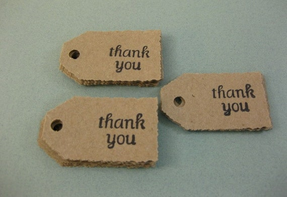 Eco Friendly Mini Thank You Product Hang Price Tags Kraft Card Stock Set of 25 QueenBeeInspirations