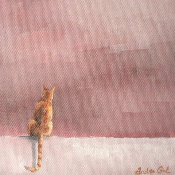 giclee art print of a curious ginger cat