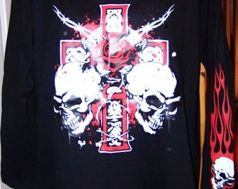 Plus Size, 3X Black T-shirt, Gothic Black Tee, Skull and Cross, Flames, Red Gothic Bobwire