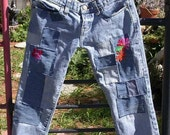 upcycled Abercrombie and Fitch denim jeans, Resurrected Jeans, patchwork, embroidered, skinny girl pants