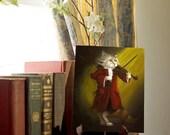 Violinist Cat Art, White Cat Mozart Playing Violin 8x10 Fine Art Print