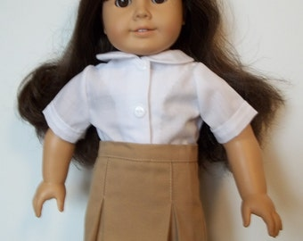 "Tan school uniform skirt with white blouse fits 18"" dolls like American Girl"