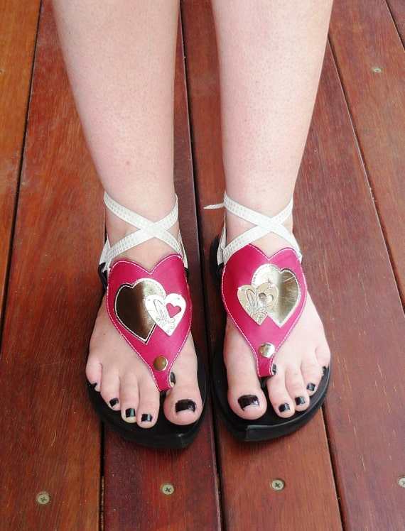 Leather sandal - My Pick - Attachment pink heart
