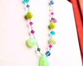 Lime green and purple statement necklace