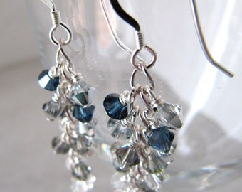 Swarovski crystals cluster earrings Sterling silver - Silver Shower MADE TO ORDER