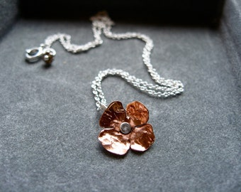 Sm-XS Flower pendant necklace in copper, bronze or sterling