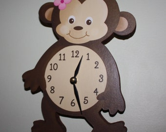 Girl Monkey Wooden WALL CLOCK for Girls Bedroom Baby Nursery WC0077