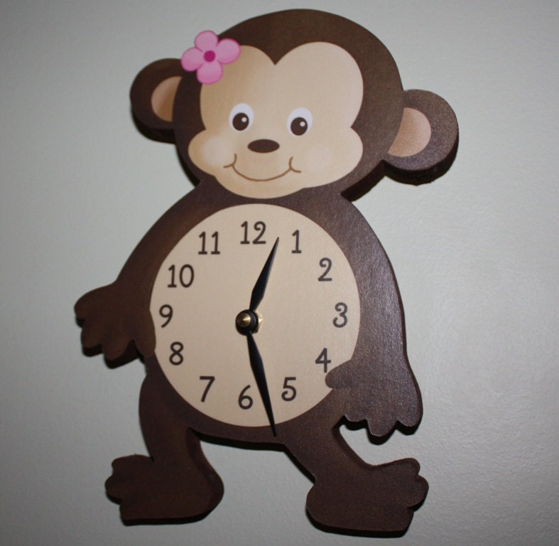 Girl Monkey Wooden Wall Clock For Girls Bedroom By Toadandlily