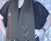 Sargent General up cycle button cluster military inspired wool scarf