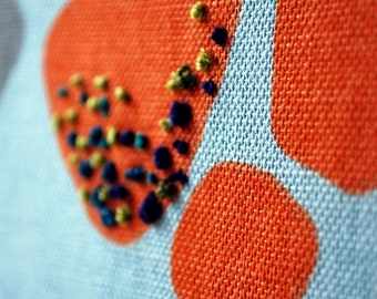Wall Art Embroidered and Printed Fabric Light Blue, Grey, Orange and Pink