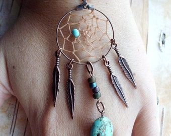 Peace Catcher Turquoise Bohemian Dreamcatcher  Bracelet Hippie Tribal  Copper   Native American Inspired