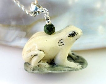 Frog Lily Pad and Green Tourmaline Sterling Silver Pendant Necklace | Kiss a Frog Prince Necklace | Carved Frog Totem Charm Fetish